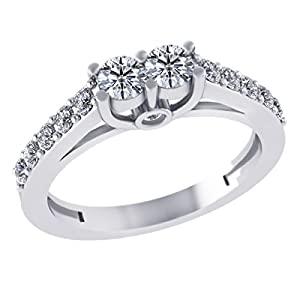 Pretty Jewellery 0.69 Ct Round Genuine Diamond I1-I2 2 Stone Unique Engagement Ring in 14KT Gold (white-gold, 8)