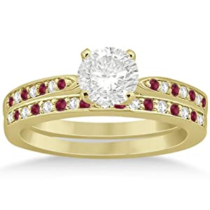 Pave-Setting Channel Design Semi-Eternity Ruby and Diamond Bridal Set in 18k Yellow Gold 0.47ct
