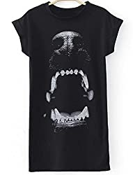 Women's Black Short Sleeve Dog Print Dress