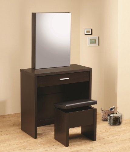 2Pc Vanity Table Set With Vanity Table, Storage Mirror And Storage Vanity Stool In Cappuccino Finish. (Item# Vista Furniture Cf300289) back-907001
