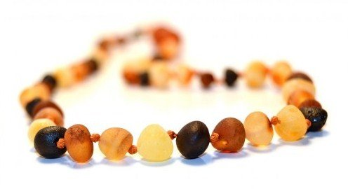 Certified Baltic Amber Necklace 17 Inch (raw multicolored) - Anti-inflammatory