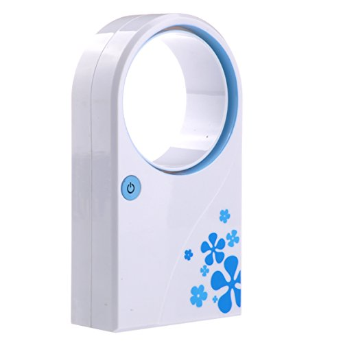 Foxnovo Portable 4 * Aaa Batteries /Usb Powered Bladeless Mini Air Condition Desktop Cooling Fan (Blue) front-534488