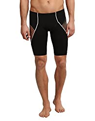 Speedo Men's Polyester Jammer (8901326544365_809664A315_38_Black and Papaya Punch)