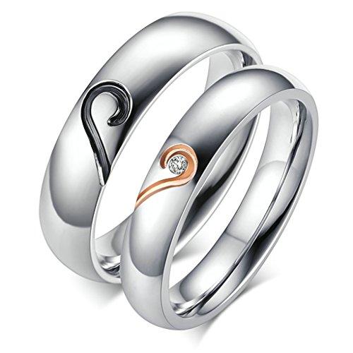Bishilin Acciaio Inossidabile Puzzle Cuore Coppia Anello Fedine Anelli Promessa Matrimonio(Prezzo per 1pc) Misura 12
