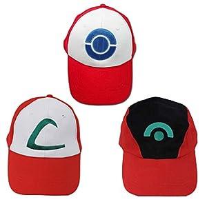 Ash Ketchum Hat Cap Set for Kids 3 Styles