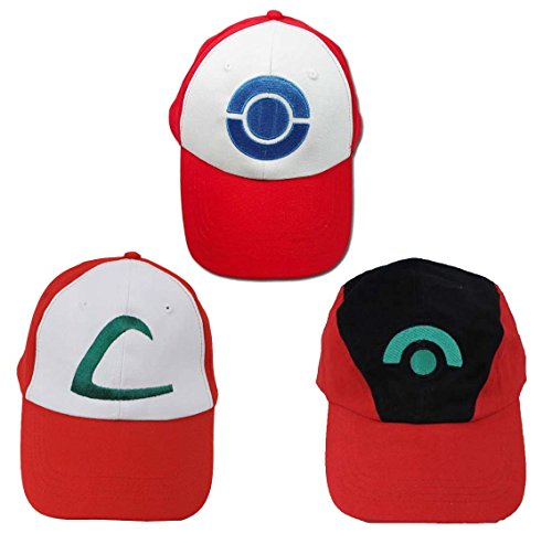 [Ash Ketchum Hat Cap Set for Adult 3pcs] (Fast Easy Boy Costumes)