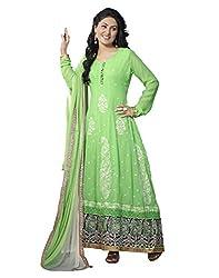 Lookslady Women's Georgette Semi Stitched Salwar Kameez Suit (5000070447_Green)