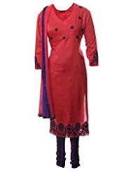 Azra Jamil Fine Cotton Reddish Pink Resham Embroidered Traditional Churidar Suit For Women