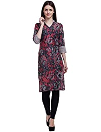 Black Grey Floral Cotton Kurti
