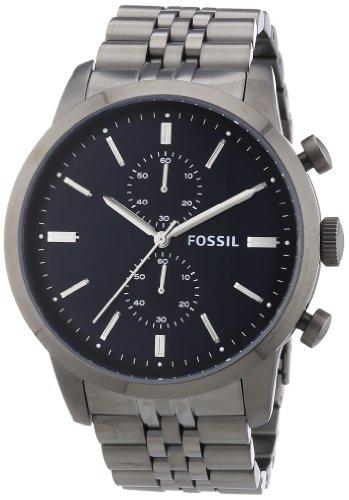 Fossil FS4786 - Reloj cronógrafo de cuarzo para hombre, correa de acero inoxidable color gris (cronómetro)