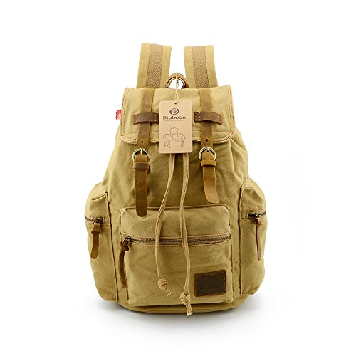 BLUBOON(TM) Vintage Men Casual Canvas Leather Backpack Rucksack Bookbag Satchel Hiking Bag (Khaki)
