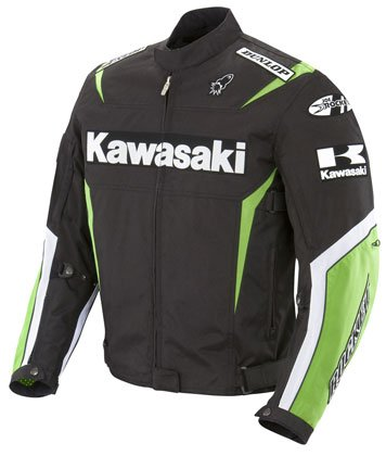 Kawasaki Replica Super Sport Motorcycle Jacket Black/Green/White