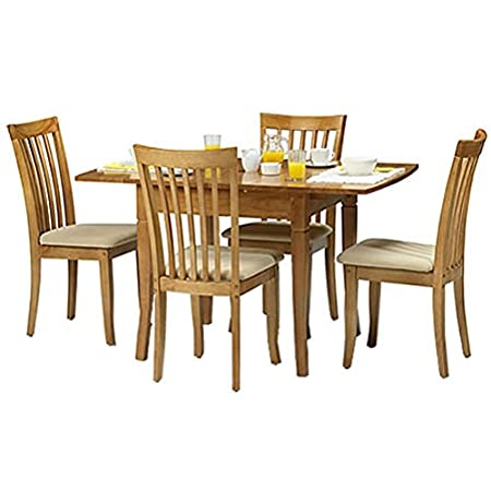 Newbury Extending Dining Table + 4 Chairs - Cream Faux Leather Seats - Maple