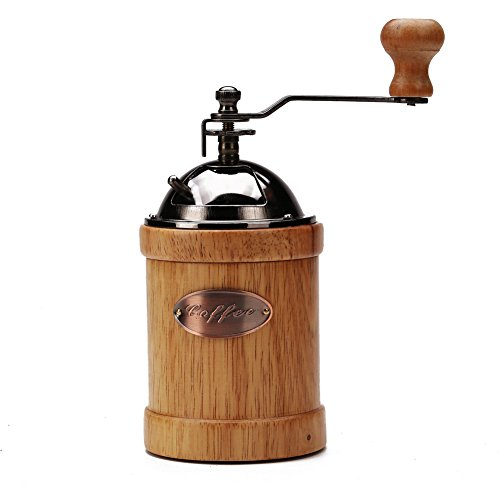 3E Home 23-2400 Hand Crank Manual Canister Stainless Steel Burr Coffee Grinder Mill,Stainless Steel Top and Solid Wood Body,3.4