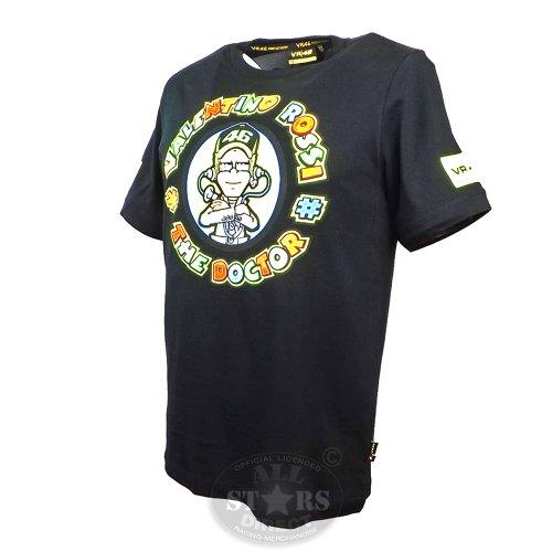 "Vr46 Men'S Official Valentino Rossi ""The Doctor"" Cartoon T-Shirt Moto Gp Xl Black"