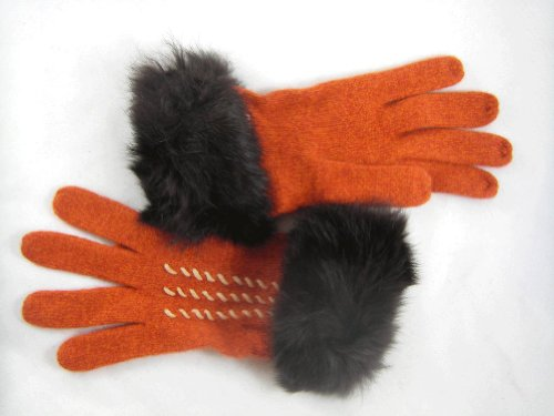 Moschino Moschino Rabbit Fur Knit Gloves