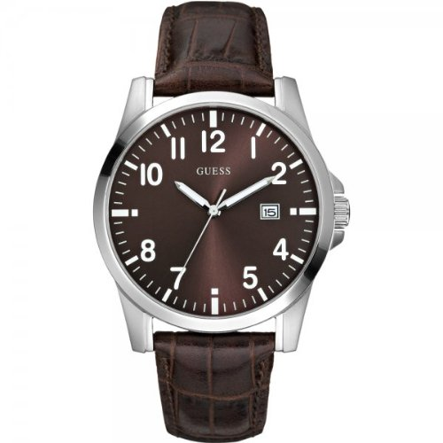 Guess Men's W65012G1 Watch with a Brown Dial and a Brown Leather Strap