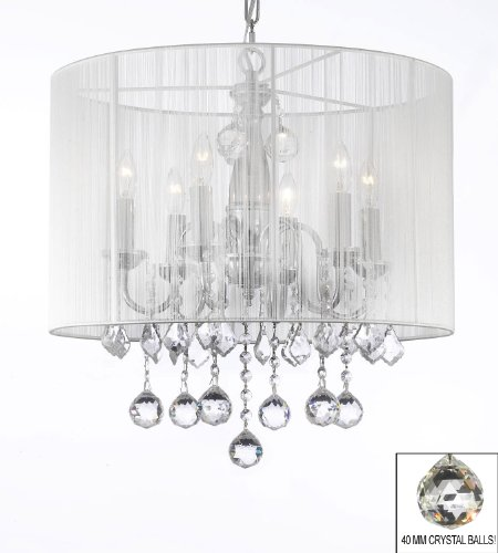 Lovely Crystal Chandelier Chandeliers With Large White Shade MM Crystal Balls H x W