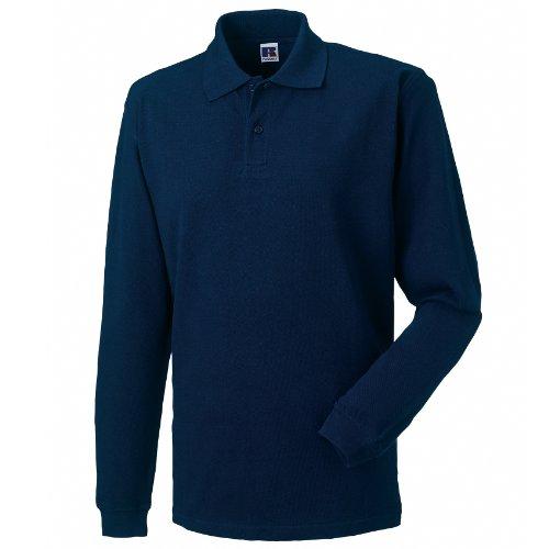 Russell - Polo Maniche Lunghe 100% Cotone - Uomo (M) (Blu navy)