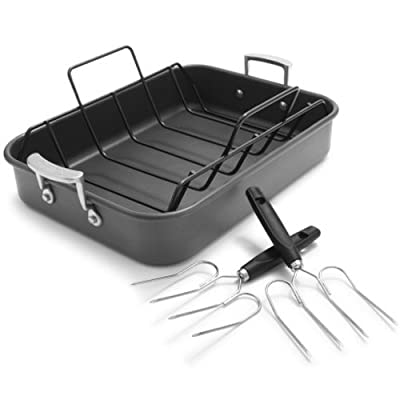 Sur La Table Hard-Anodized Roasting Pan with Nonstick Rack and Bonus Lifters 83343-C , Black