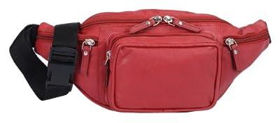 Sac banane LEAS, cuir véritable, rouge - ''LEAS Travel-Line''