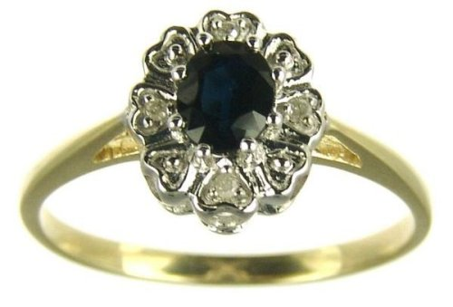 9ct Yellow Gold Ladies' Oval Sapphire and Diamond Set Cluster Ring Size P