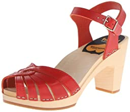 swedish hasbeens Women\'s Fredrica Platform Sandal, Red, 7 M US
