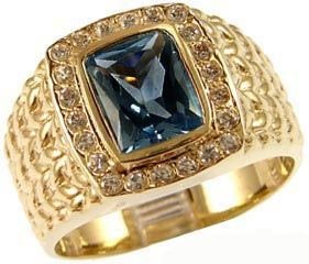 14K Yellow Gold, Fancy Ring For Men Guy Gent With Brilliant Lab Created Gems Light Blue Center