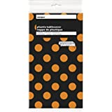 "Orange & Black Polka Dot Halloween Plastic Tablecloth, 108"" x 54"""
