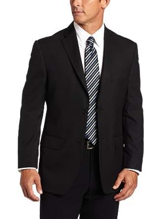 Haggar Men's Shadow Stripe 2-Button Center Vent Suit Separate Coat, Black, 44 L