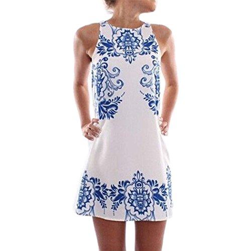 FINEJO® Summer Womens Casual Chiffon Sleeveless Fashion Flower Beach Dress