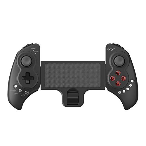 Multi-Media Bluetooth Telescopic Stand Game Controller Wireless Gamepad Gaming Joystick for IOS Iphone/Ipad/Samsung/MOTO/Android TV Box Smartphones Tablets PC Support 5-10 inch devices (Color: Black)