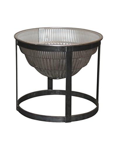 White x White Warehouse Side Table, Light/Dark Gray