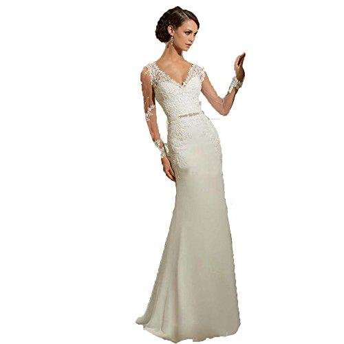 e3f9286ba0a8 Fenghuavip Elegant V-neck Long Sleeves White Lace Wedding Dress Tailing  (custom made)