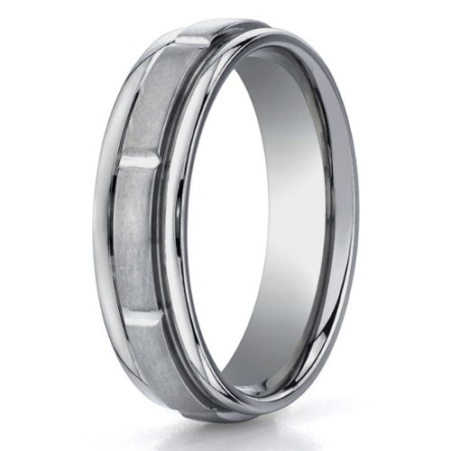 Mens 6mm Matte Comfort Fit Wedding Band with Grooves