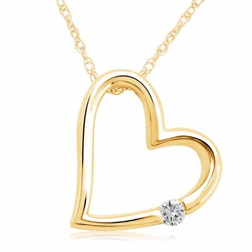 10k yellow gold heart diamond pendant necklace 001 cttw i j color 10k yellow gold heart diamond pendant necklace 001 cttw i j color i2 i3 clarity 18 aloadofball Choice Image