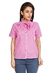 Zovi Cotton Pink Checkered Top With Tie-up At Neck (10544451701_X-Small)