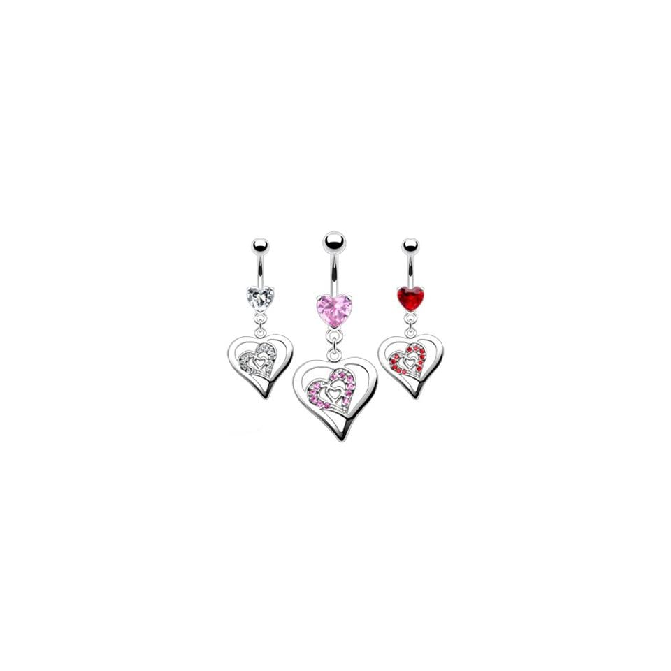 Jeweled heart belly ring with dangling triple heart, pink Jewelry