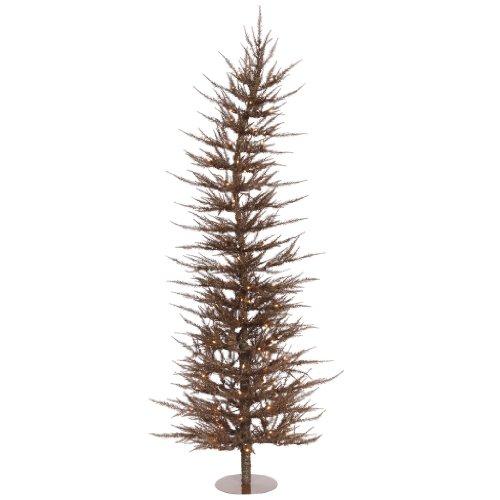 Vickerman Pre-Lit Laser Tree with 150 Clear Mini Lights, 6-Feet, Mocha