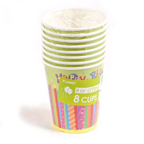 Happy Birthday Candles Printed Cups Case Pack 36
