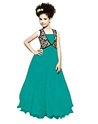 Surat Tex Turquoise & Black Color Heavy Soft Net Embroidered Stitched Designer Kids Gown-H913GN48008PR