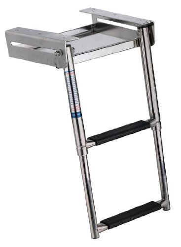 Amarine-made 2-step Under Platform Slide Mount Boat Boarding Ladder, Telescoping, Stainless Steel