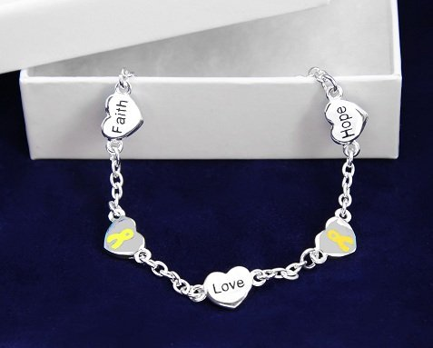 Yellow Ribbon Bracelet-Hope, Faith, Love (18 Bracelets)