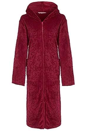 Ladies Hooded Full Zipped Dressing Gown Flannel Fleece