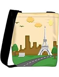 Snoogg France Eiffel Tower Cartoon Background Vector Womens Carry Around Cross Body Tote Handbag Sling Bags