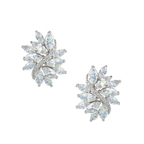 EVER FAITH Silver-Tone Zircon Bridal Floral Leaf Pierced Stud Earrings Clear (Vintage Rhinestone Earrings compare prices)