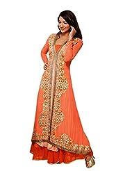 Stylelok Orange Chiffon Unstitched Anarkali Suit SL 19013810