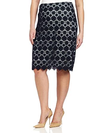 Vince Camuto Women's Plus-Size Embroidered Lace Pencil Skirt, Blue Night, 14W
