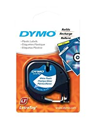 DYMO Labeling Tape, LetraTag Labelers, Plastic, 1/2&quot;x13', Black on White