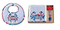 Mud Pie Boathouse Baby Burp Cloth Set & Bib